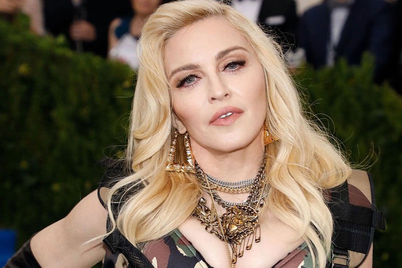 Madonna with microblading eyebrows