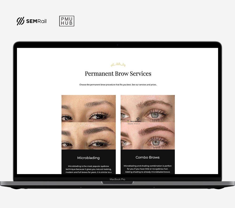 Website for permanent makeup salon