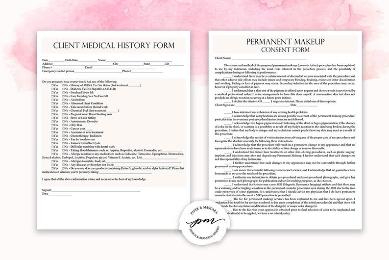 What should the permanent makeup consent form look like?