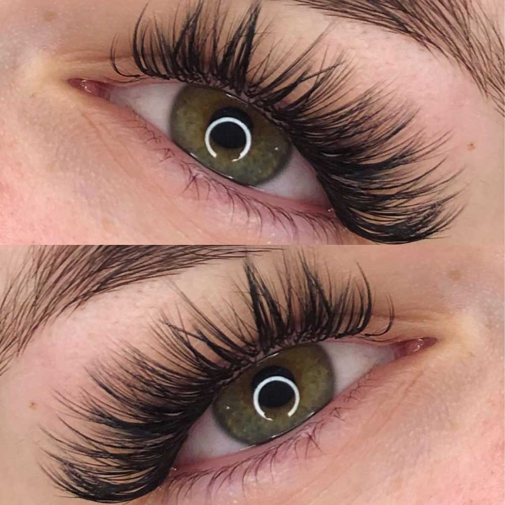 Wispy hybrid lash extensions combine these two techniques - classic and volume
