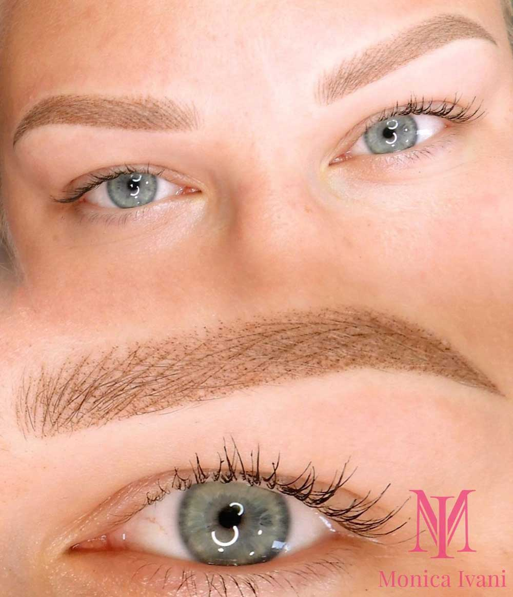 With combo eyebrows, you get hair strokes and some powdery shading which is great for people who have oily skin.