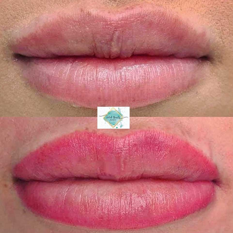Lip contour with shading